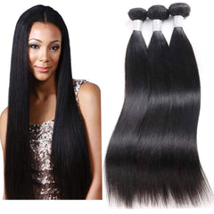 LETMESHINE HAIR SET 1B NATURAL COLOR STRAIGHT UNPROCESSED VIRGIN HUMAN HAIR WEAVE - LetMeShine Hair
