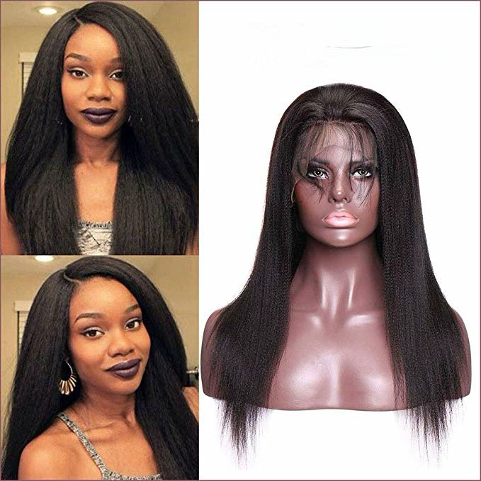 LETMESHINE FRONTAL LACE WIG YAKI STRAIGHT NATURAL COLOR GLUELESS 100% HUMAN HAIR WIG LACE FRONT 13*4 OR 13*6 - LetMeShine Hair
