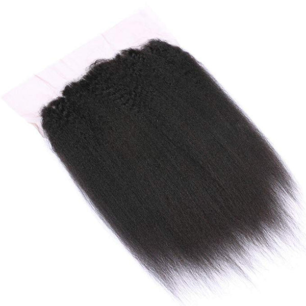 LETMESHINE NATURAL COLOR yaki STRAIGHT 13*4 OR 13*6 LACE FRONTAL THREE PART MIDDLE PART AND FREE PART 100% VIRGIN HUMAN HAIR - LetMeShine Hair