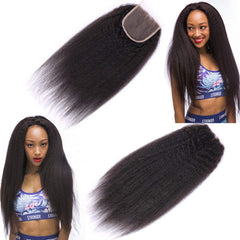 LETMESHINE YAKI STRAIGHT 4*4 OR 5*5 LACE CLOSURE THREE PART MIDDLE PART FREE PART 100% VIRGIN HUMAN HAIR NATURAL COLOR - LetMeShine Hair