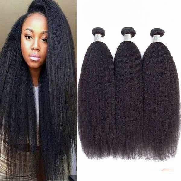 LETMESHINE 1B NATURAL COLOR  YAKI STRAIGHT UNPROCESSED VIRGIN HUMAN HAIR WEAVE SINGLE BUNDLE - LetMeShine Hair