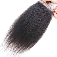LETMESHINE YAKI STRAIGHT 4*4 OR 5*5 LACE CLOSURE THREE PART MIDDLE PART FREE PART 100% VIRGIN HUMAN HAIR NATURAL COLOR
