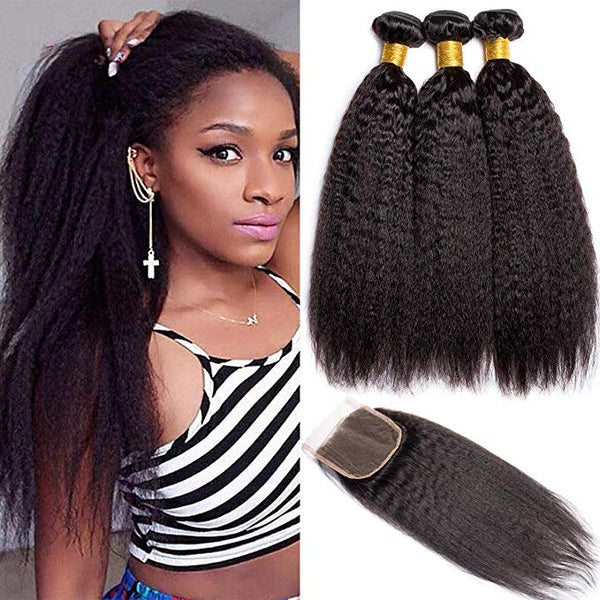 LETMESHINE YAKI STRAIGHT Hair Weave Natural Color 3 Bundles With 4*4  Lace Closure 100% Virgin Human Hair - LetMeShine Hair