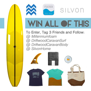 Win a Driftwood Caravan Surfboard, Shave Cream, Silvon Beach Towel and Beach Essentials Kit from Millennium Foam