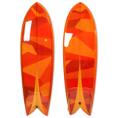 Orange Retro Fish Twin Keel Surfboard - Driftwood Caravan Surfboards