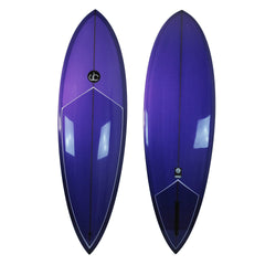 Single Fin Pin Tail Surfboard Purple - Driftwood Caravan Surfboards