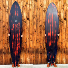 Single Fin Pin Tail Surfboard Orange - Driftwood Caravan Surfboards