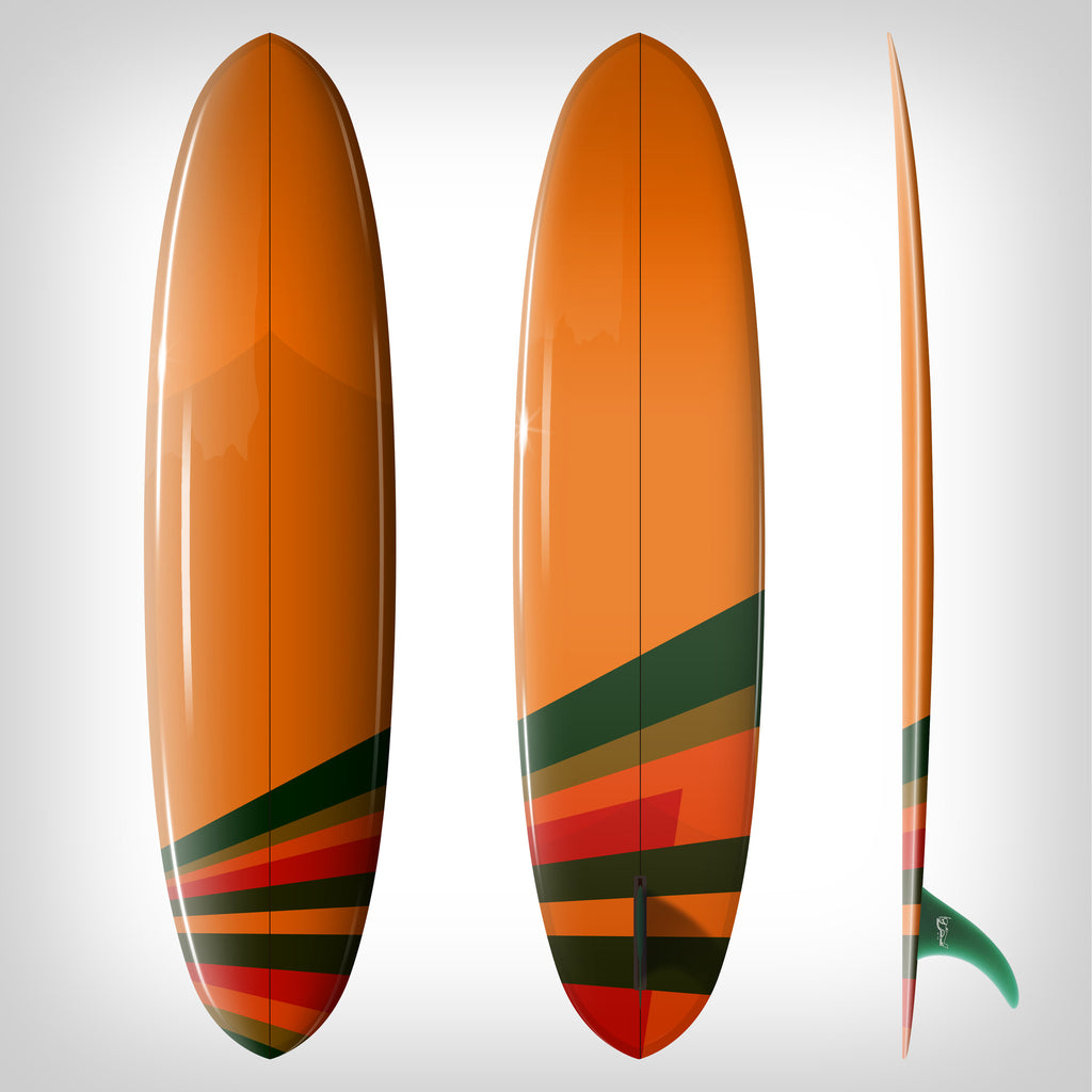 "Custom Order Egg Surfboard Double Ender ""Orange Sunshine"" - Driftwood Caravan x Surfing With Friends - Driftwood Caravan Surfboards"