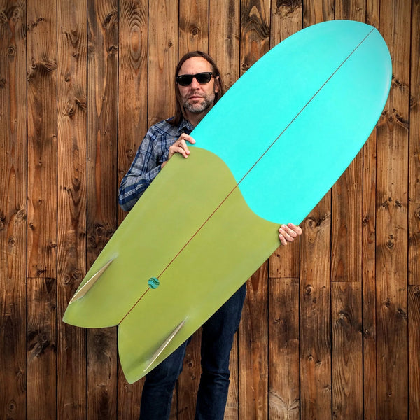 5'6 Shim-Fish EPS Blue / Green with Glass On Marine Ply Keels - Driftwood Caravan - Driftwood Caravan Surfboards - 4