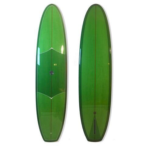 8'0 DC Vee Bottom - Candy Green Tint, Gloss and Polish, White Deck Pin Lines - Driftwood Caravan - Driftwood Caravan Surfboards - 1