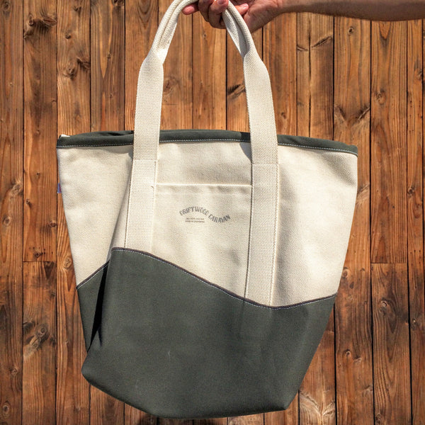 Canvas Beach Bag with Zipper Top and Interior Pocket by Driftwood Caravan - Driftwood Caravan Surfboards