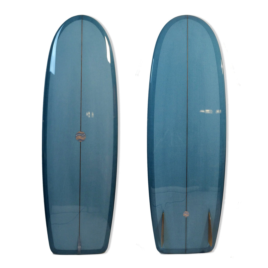 5'8 Mini Simmons with Steel Blue Resin Tint and Gloss Polish Finish - Driftwood Caravan - Driftwood Caravan Surfboards - 1