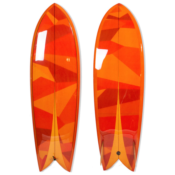 "Custom Order Fish Surfboard Chivo Keel ""Amber Glass"" - Driftwood Caravan x Surfing With Friends - Driftwood Caravan Surfboards - 1"