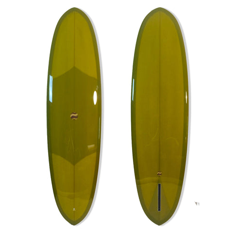 Driftwood Caravan 6'11 Double Ender - Moss Green with Resin Tint, Gloss and Polish - Driftwood Caravan Surfboards - 1