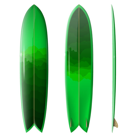 Custom Order Long Fish Glider - Driftwood Caravan x Surfing With Friends in Green - Driftwood Caravan Surfboards