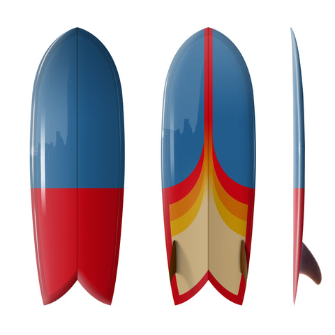 "Custom Order  Fish Surfboard Shim-Fish ""Astro Pop""- Driftwood Caravan x Surfing With Friends - Driftwood Caravan Surfboards"
