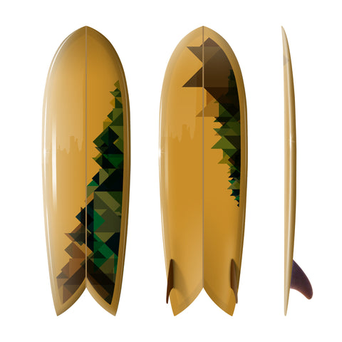 "Custom Order Fish Surfboard Shim-Fish ""Crystal Earth"" - Surfing With Friends Art - Driftwood Caravan Surfboards"
