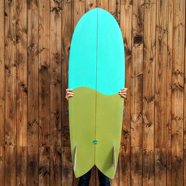 5'6 Shim-Fish EPS Blue / Green with Glass On Marine Ply Keels - Driftwood Caravan - Driftwood Caravan Surfboards - 2