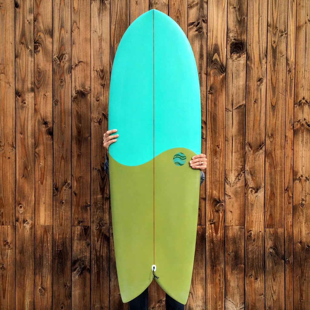 5'6 Shim-Fish EPS Blue / Green with Glass On Marine Ply Keels - Driftwood Caravan - Driftwood Caravan Surfboards - 1