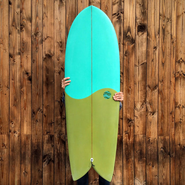 5'6 Shim-Fish EPS Blue / Green with Glass On Marine Ply Keels - Driftwood Caravan - Driftwood Caravan Surfboards