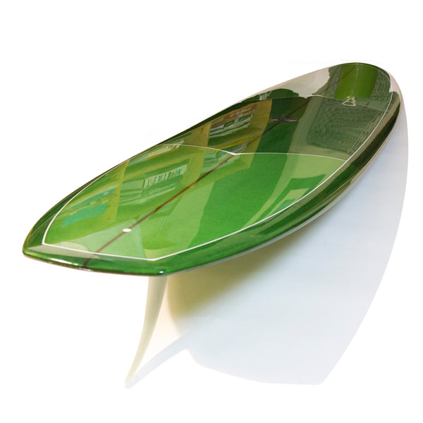 8'0 DC Vee Bottom - Candy Green Tint, Gloss and Polish, White Deck Pin Lines - Driftwood Caravan - Driftwood Caravan Surfboards