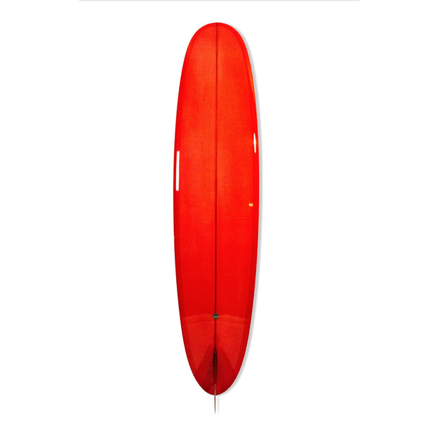 9'0 Rand Pan - Blood Orange Resin Tint, Gloss Polish and Glass On Marine Ply Fin - Driftwood Caravan - Driftwood Caravan Surfboards - 2