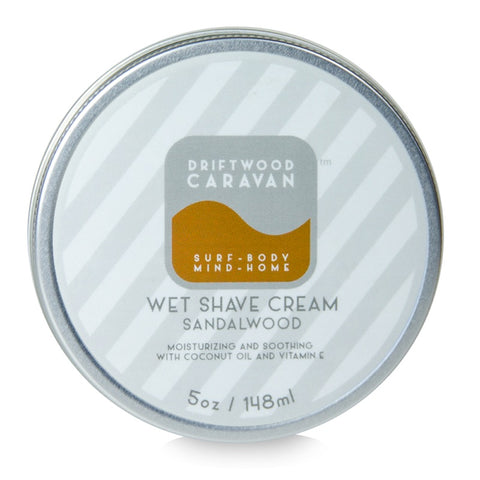 Wet Shave Cream 5oz Sandalwood - Driftwood Caravan Body