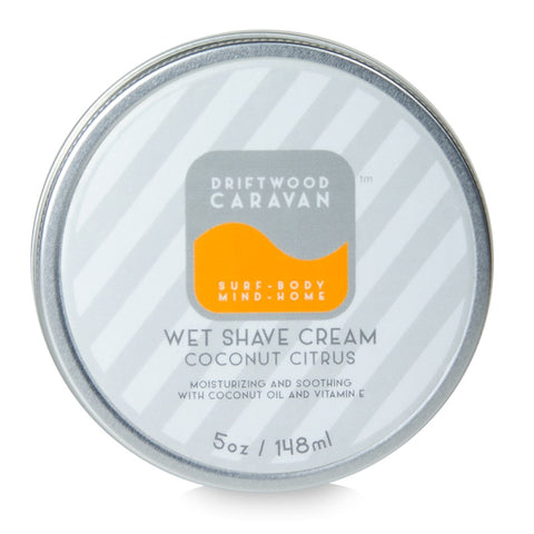 Wet Shave Cream 5oz Coconut Citrus - Driftwood Caravan Body - Driftwood Caravan Surfboards