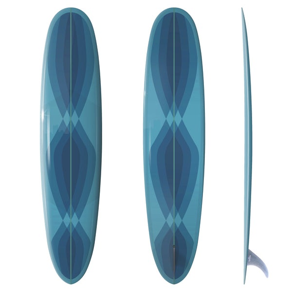 Custom Order Longboard RAND PAN - Driftwood Caravan x Surfing With Friends in Blue - Driftwood Caravan Surfboards