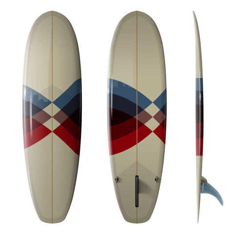 "Custom Order Hull Surfboard Super Stubby ""Fluid Wrap""- Driftwood Caravan x Surfing With Friends - Driftwood Caravan Surfboards"