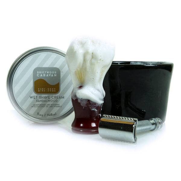 Wet Shave Cream 5oz Sandalwood - Driftwood Caravan Body - Driftwood Caravan Surfboards