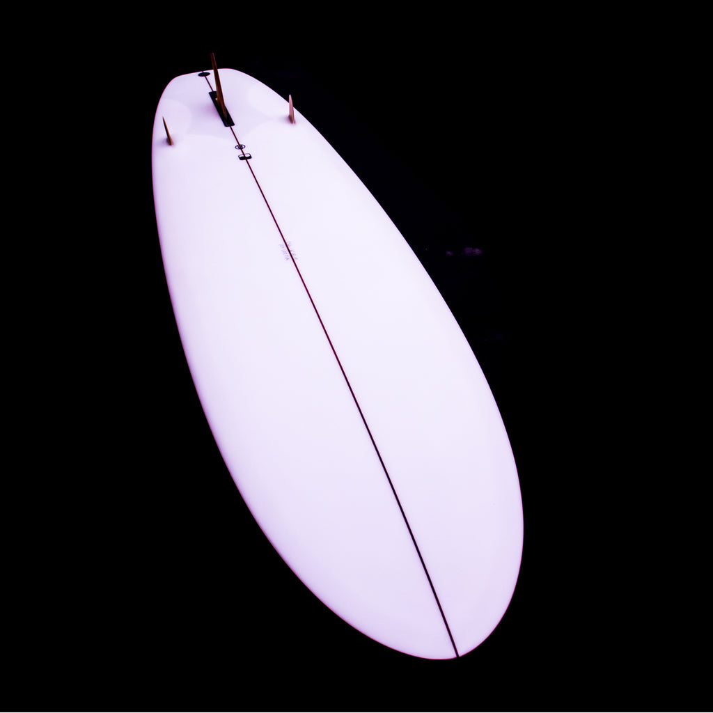 6'10 Style Stubby - Clear Wet Sanded Gloss with Marine Ply Sidebites - Driftwood Caravan Surfboards