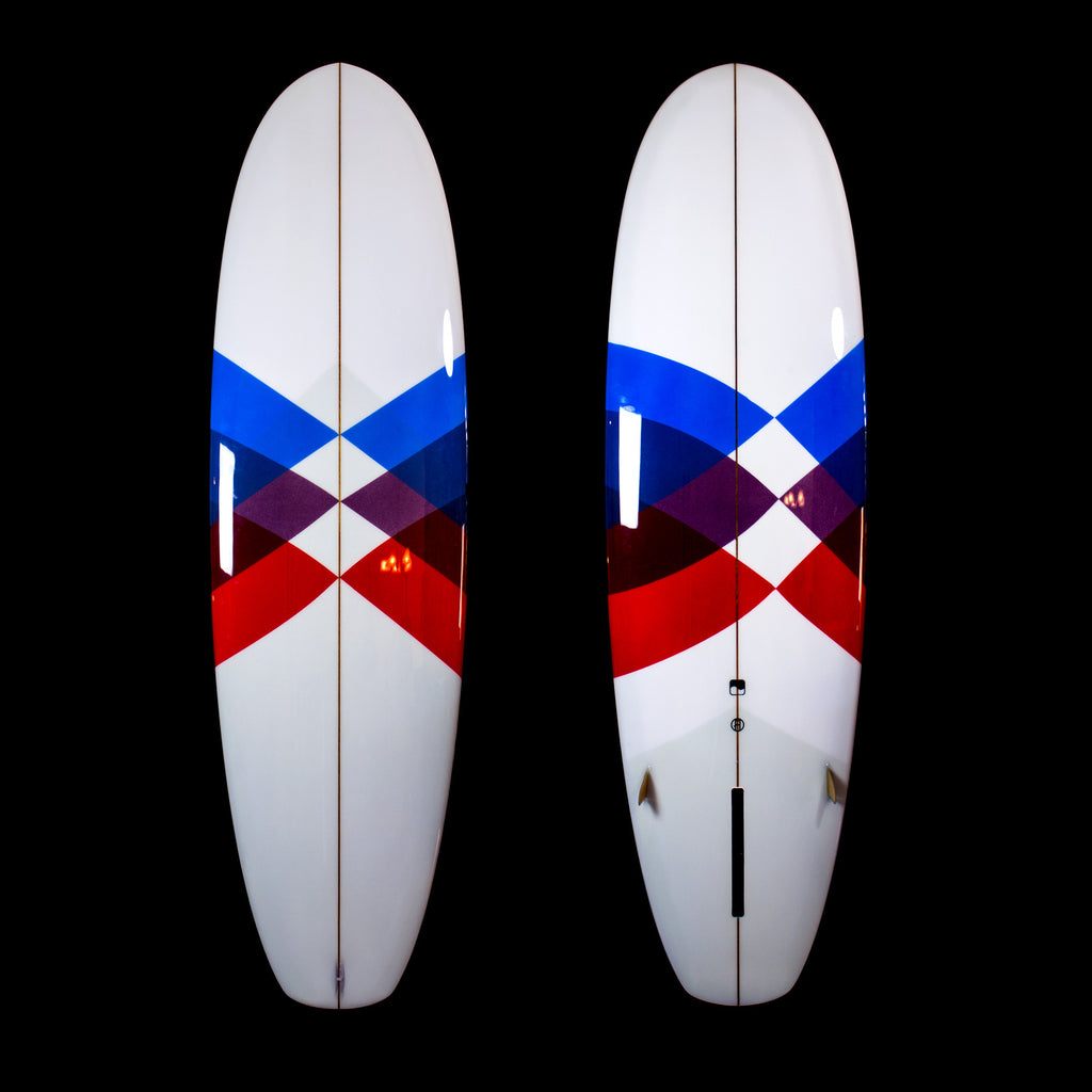 6'10 Super Stubby - Driftwood Caravan x Surfing With Friends with Custom Airbrush and Marine Ply Side Bites - Driftwood Caravan Surfboards