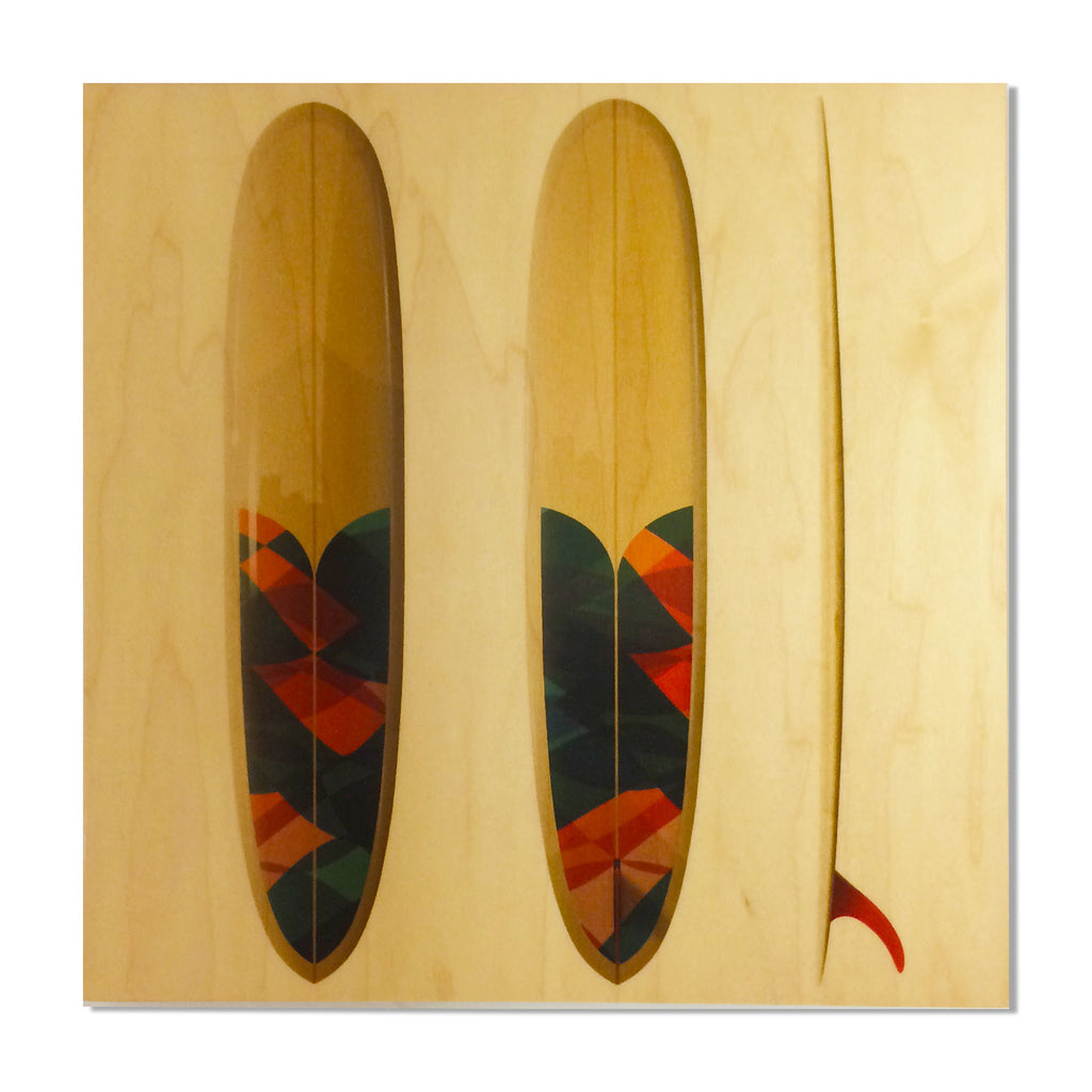 "Surf Art Wood Print - Driftwood Caravan x Surfing With Friends ""Valiant Pin"" - Driftwood Caravan Surfboards"