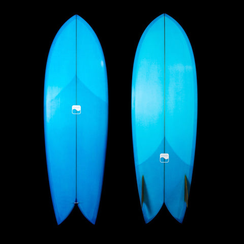5'8 Keel Fish - Light Electric Blue with Glass-on Keels