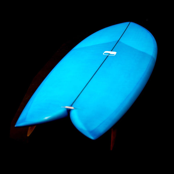 5'8 Keel Fish - Light Electric Blue with Glass-on Keels - Driftwood Caravan Surfboards