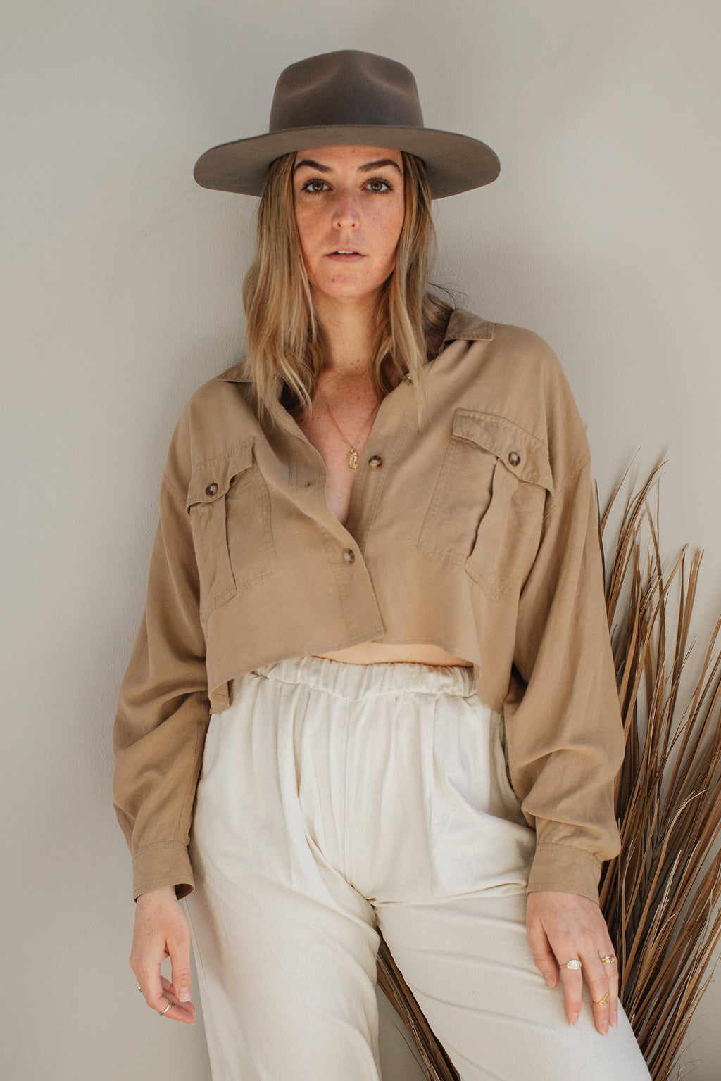 Cropped Raw Silk Blouse
