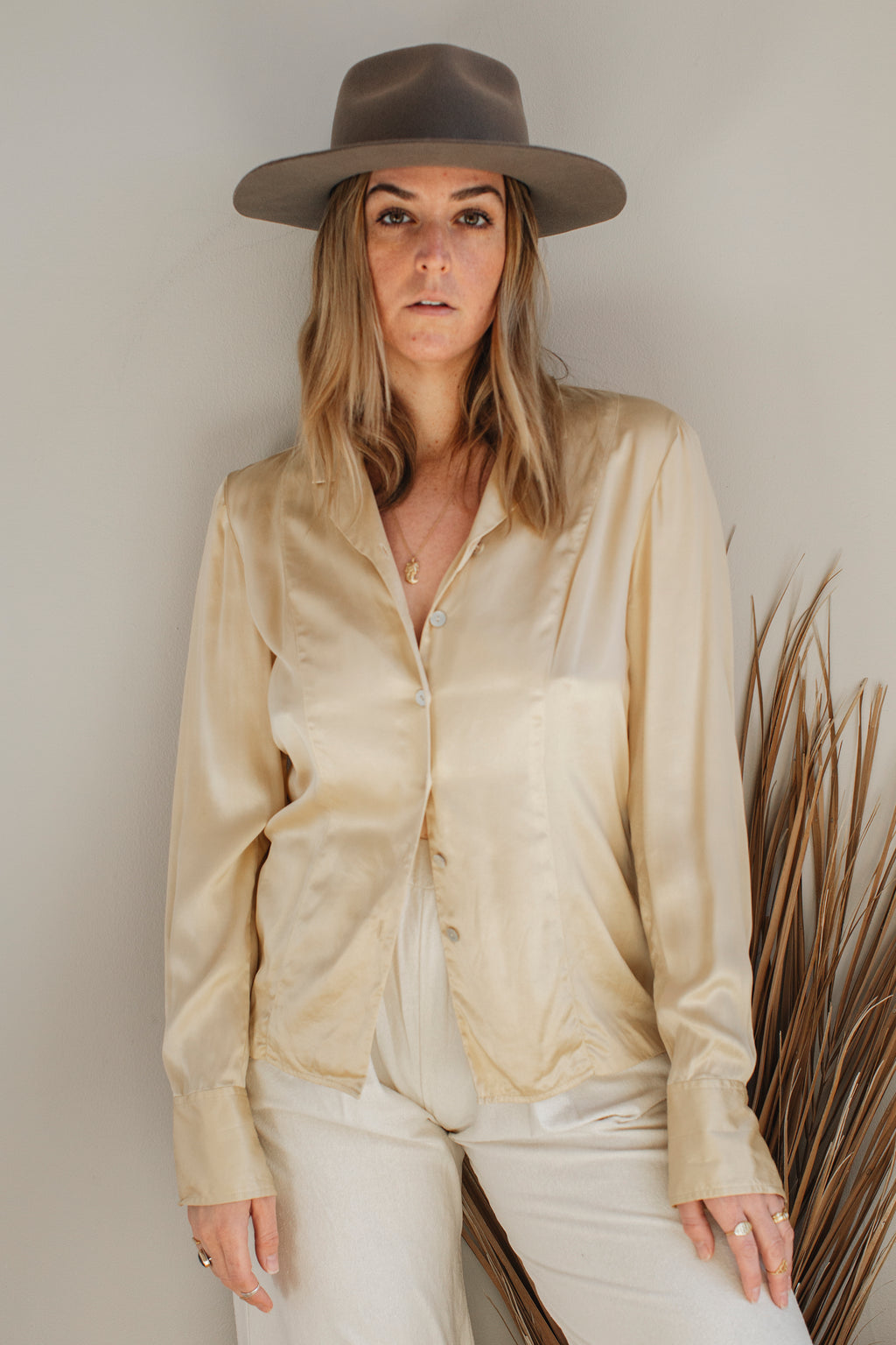 Liquid Gold Silk Blouse - M