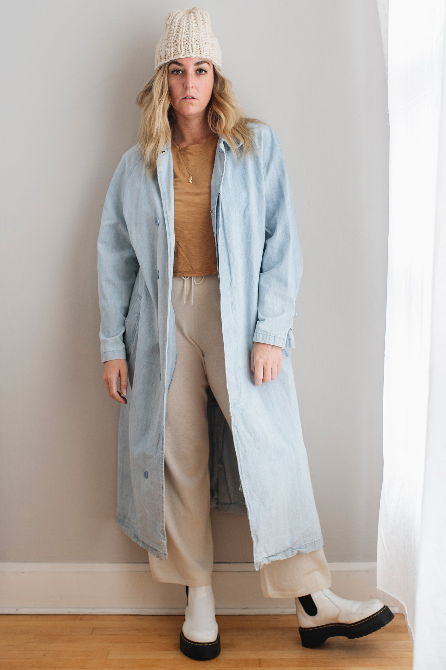 Vintage Chambray Overcoat - L