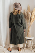 Load image into Gallery viewer, Green Cotton Trench Coat