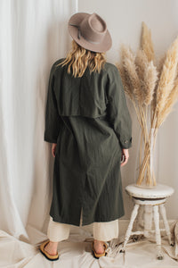 Vintage Green Trench Coat - L