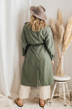 Load image into Gallery viewer, Vintage Green Cotton Trench Coat - M