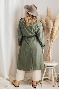 Vintage Green Cotton Trench Coat - M