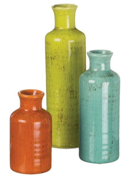 "Sullivans 5-10"" Set of 3 Decorative Crackled Vases in Orange, Green, and Blue"