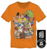 Nickelodeon Ren & Stimpy Rugrats Character T-Shirt Tee Shirt For Men Neon Orange