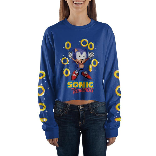 Blue Sonic Crop Top Sonic The Hedgehog Long Sleeve Shirt Sonic THe Hedgehog Apparel