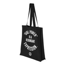 "Load image into Gallery viewer, ""GRL PWR"" Gusseted Canvas Shopper - Black"