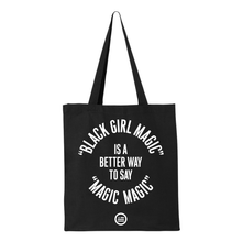 "Load image into Gallery viewer, ""Magic Magic"" Gusseted Canvas Shopper - Black"