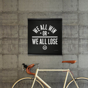 """We All Win"" Hanging Canvas Print - Black"