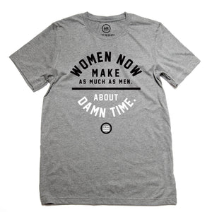 "Equal Pay Day: ""About Damn Time"" - Unisex T (Deep Heather)"